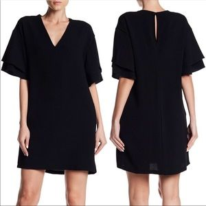 Lush Tiered Flutter Sleeve Shift Dress Black